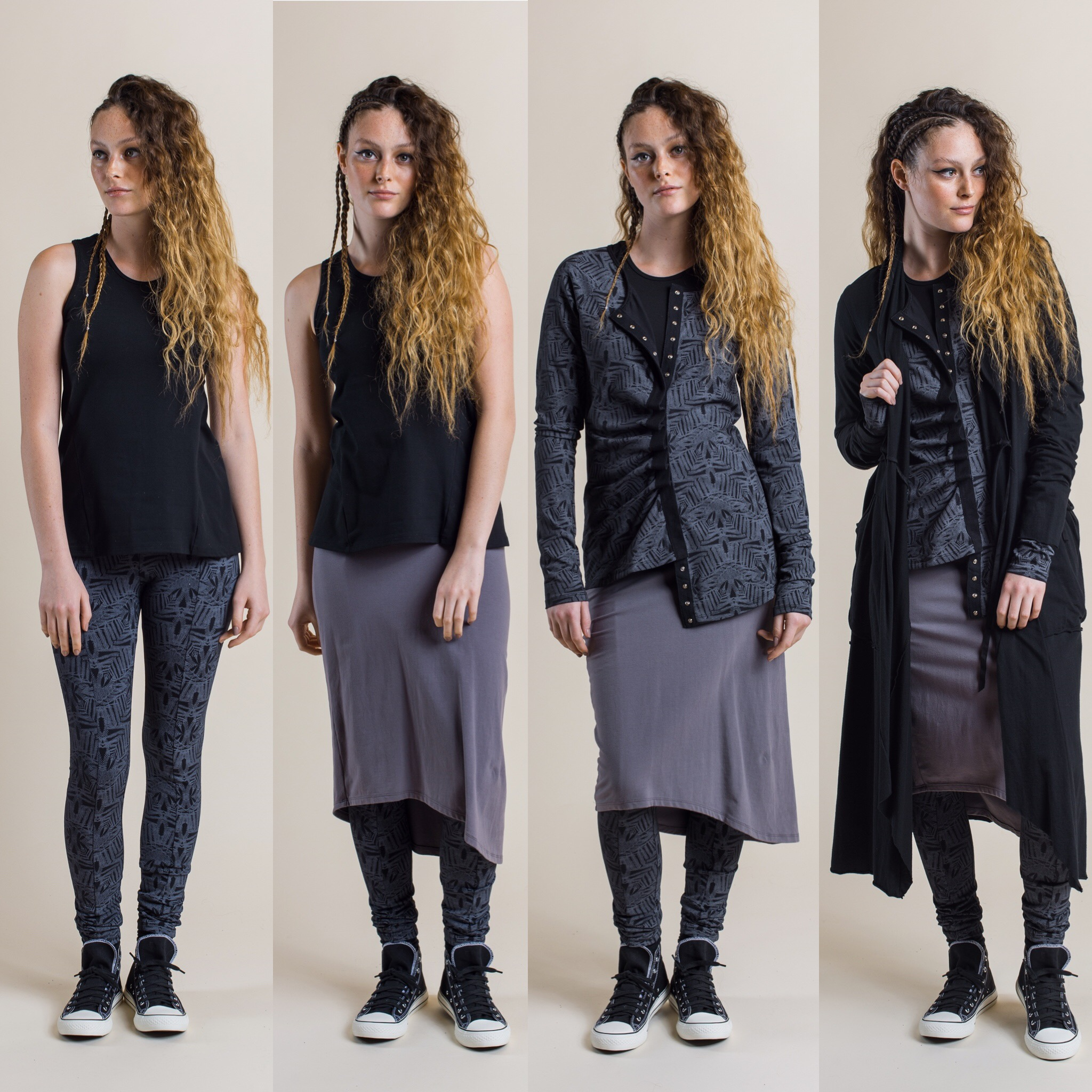 Fern Printed leggings in shadow with Tansy Top in black, add Jezabel skirt in dove, add Camille long Cardi in shadow, then add Annabel Coat in black.