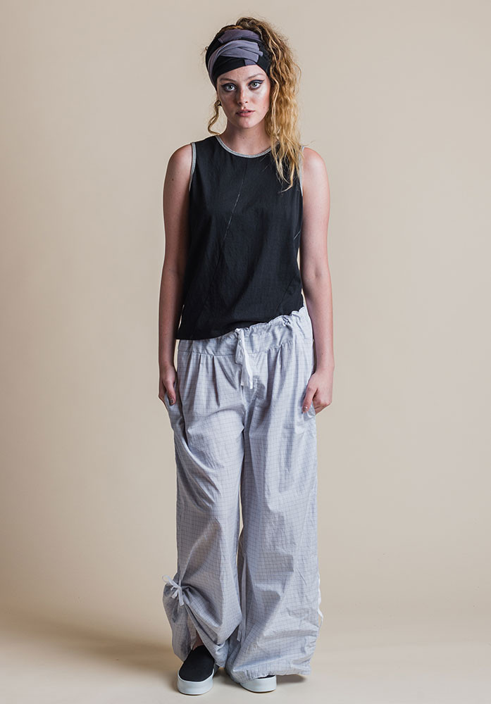 Ada pants silver check with black Perla tank.