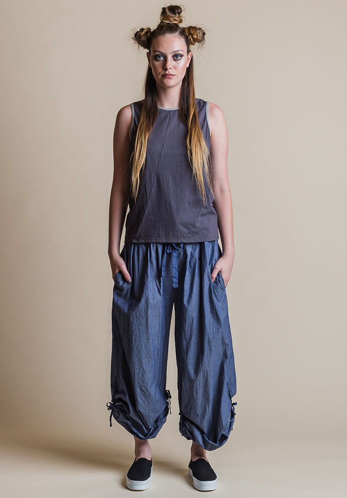 Ada pants denim tied up legs with Shadow Perla tank