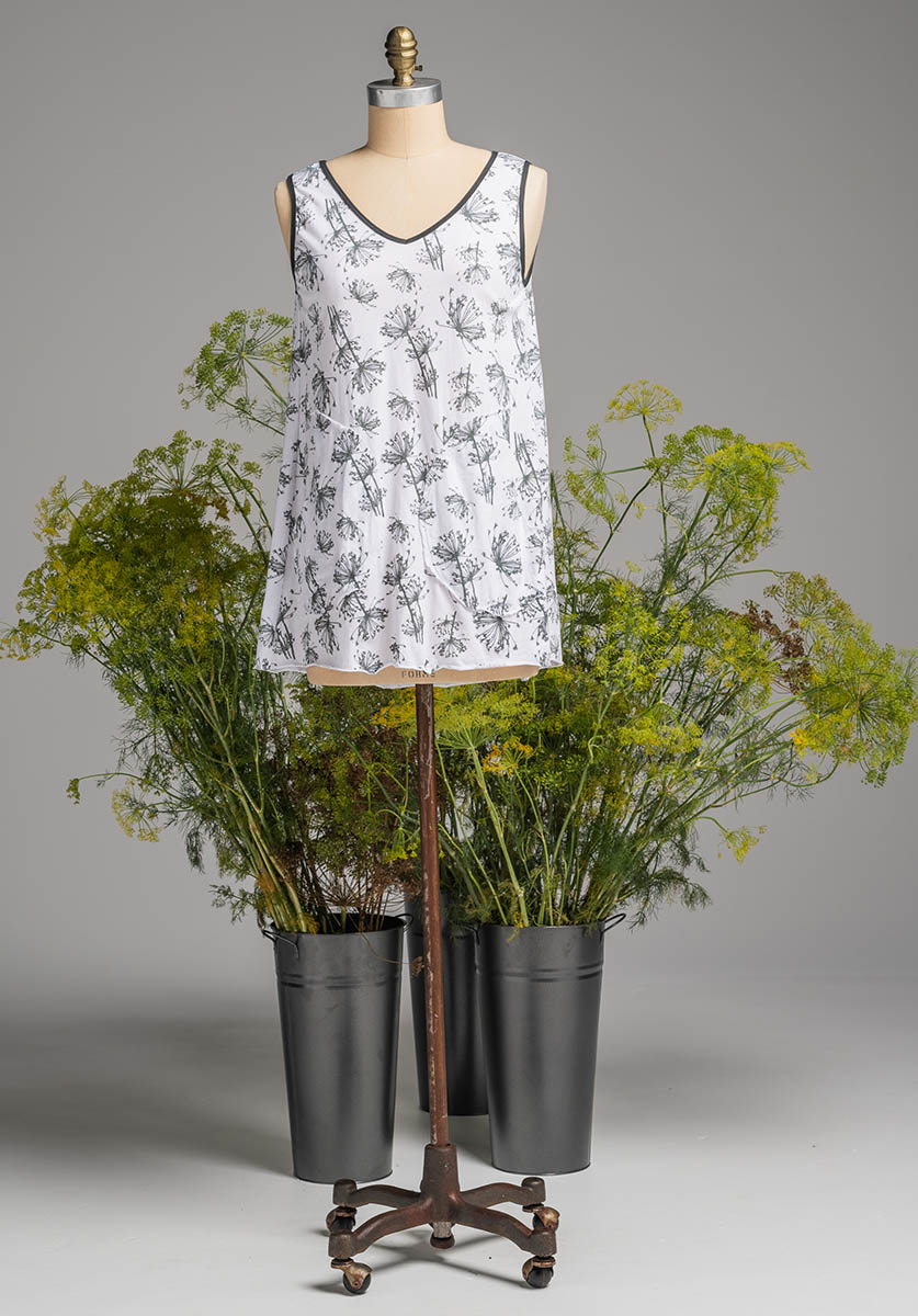 Rose tunic white dill