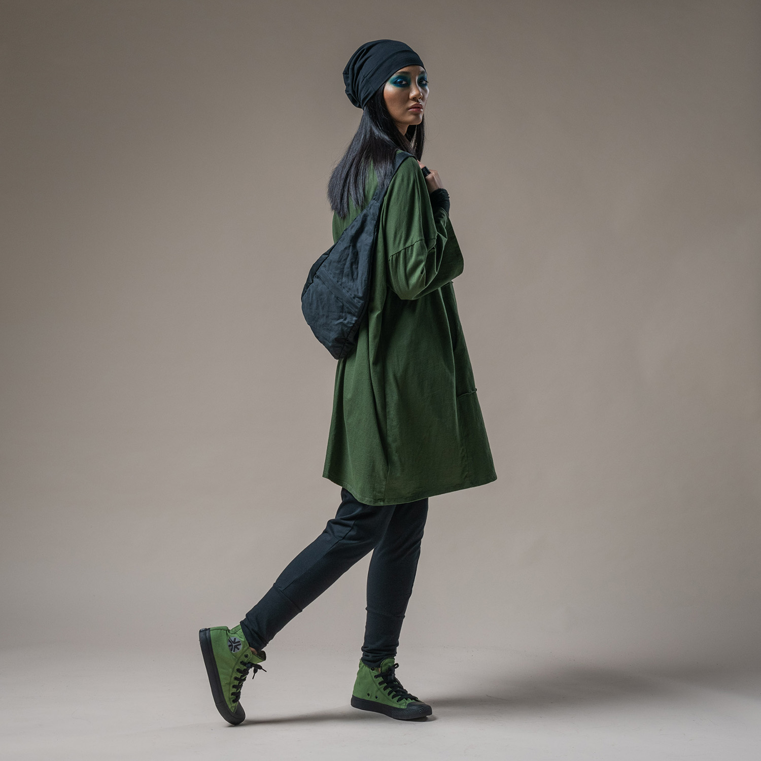 Joey dress, Andromeda top, Slouch Beanie, North bag + Trinity pant cuffed