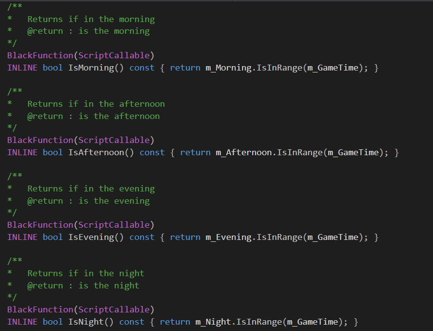 Functions declared in C++ that will be exported and callable from C#.