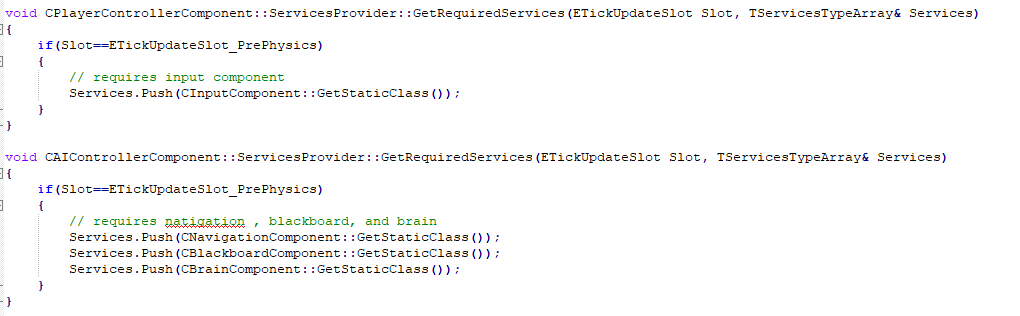 Example of GetRequiredServices for ai controller and player controller component