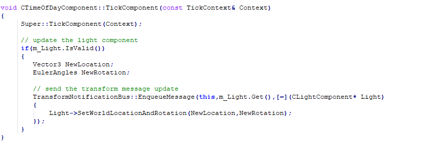 Example of sending a message to update a light component on the transform notification bus.