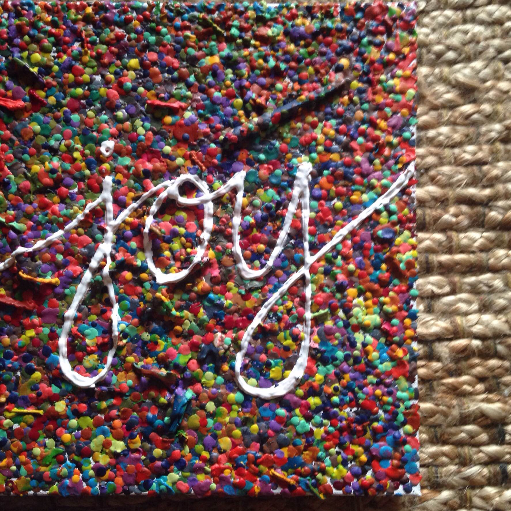 'Joy' by Hannah Poschel, 2015, 12x12, Melted Crayon on Canvas