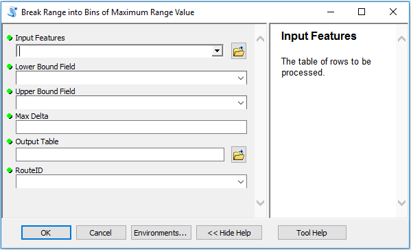 The input form allows for these parameters...