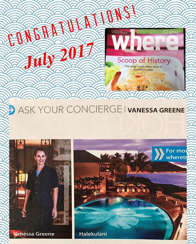 Aloha Friday!  Congratulations to our BOD member, Vanessa, of the Halekulani Hotel for being featured in #wheremagazine as this issue's expert!  #concierge #conciergehawaii #where #morrisvisitorpublications #hawaii #halekulanihotel