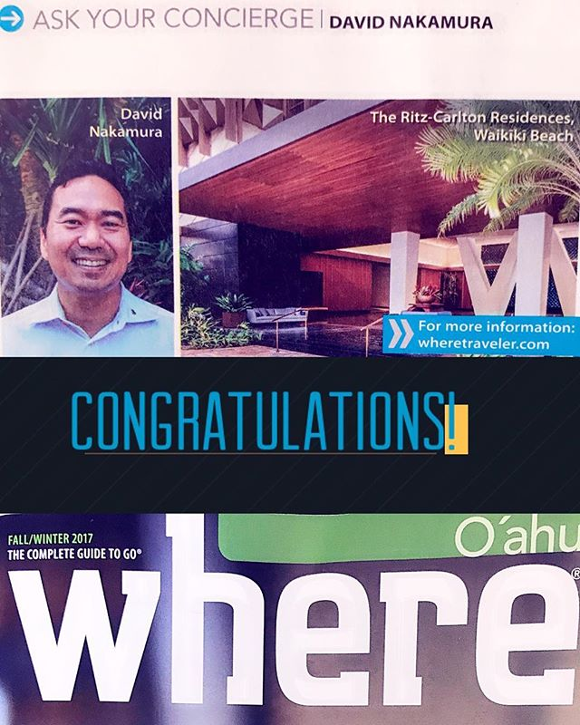 Aloha Monday!  Congratulations to our  member, David, of the Ritz Carlton Waikiki for being featured in #wheremagazine as this issue's expert!  #concierge #conciergehawaii #where #morrisvisitorpublications #hawaii #ritzcarltonwaikiki
