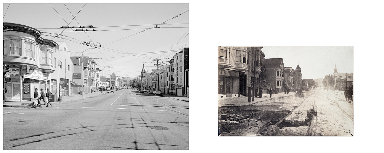 LEFT: South Van Ness at Seventeenth Street, 2003 RIGHT: Howard St between 17th and 18th, 1906
