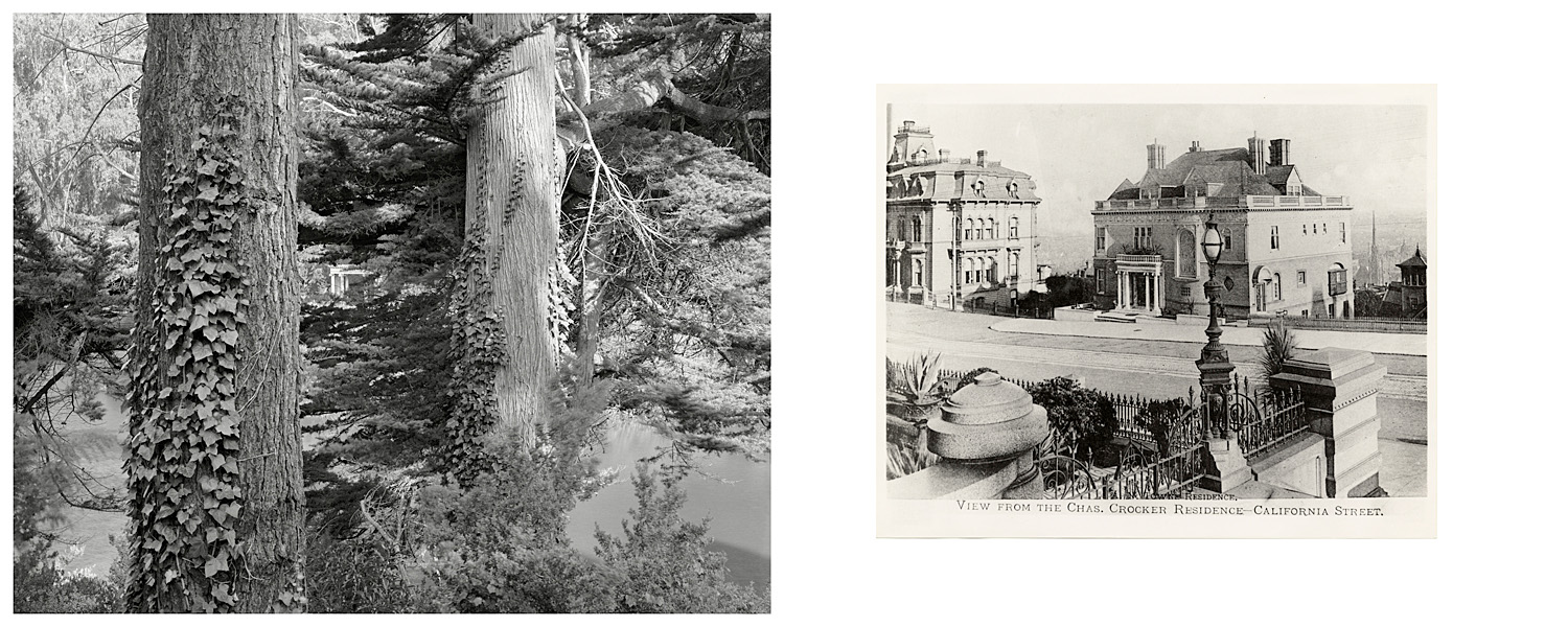 LEFT: Portico of the Towne Mansion, moved to Lloyd Lake, Golden Gate Park, 2003  RIGHT: A.N. Towne Residence, view from the Chas. Crocker Residence - California Street, Ca. 1905