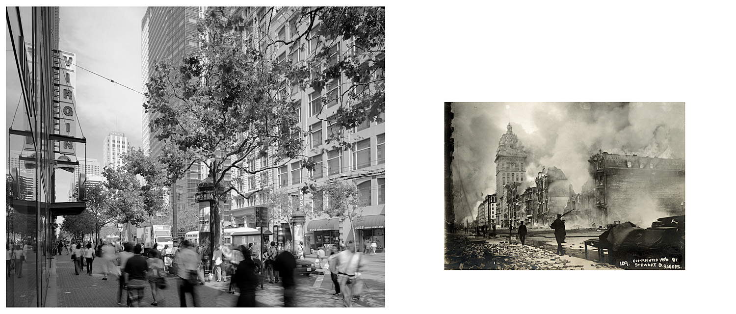 LEFT: The refurbished Call Building from the front of the Virgin Record Store, Market Street, 2003  RIGHT: Untitled, 1906