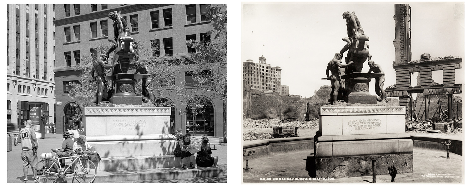 LEFT: Bike messinger hangout, Donahue Memorial, Market Street and Battery, 2003  RIGHT: Donahue Fountain, May 19, 1906