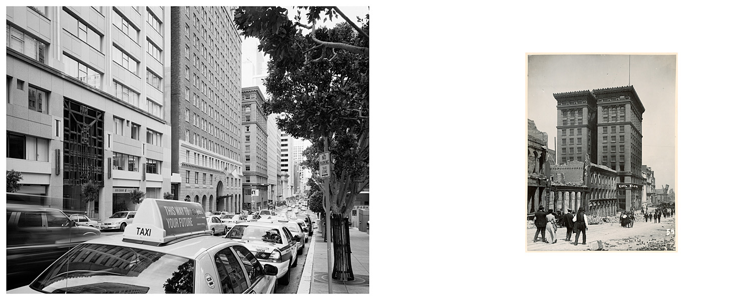 LEFT: Taxis along California Street, Kohl Building, 2003  RIGHT: Kohl Building, 1906