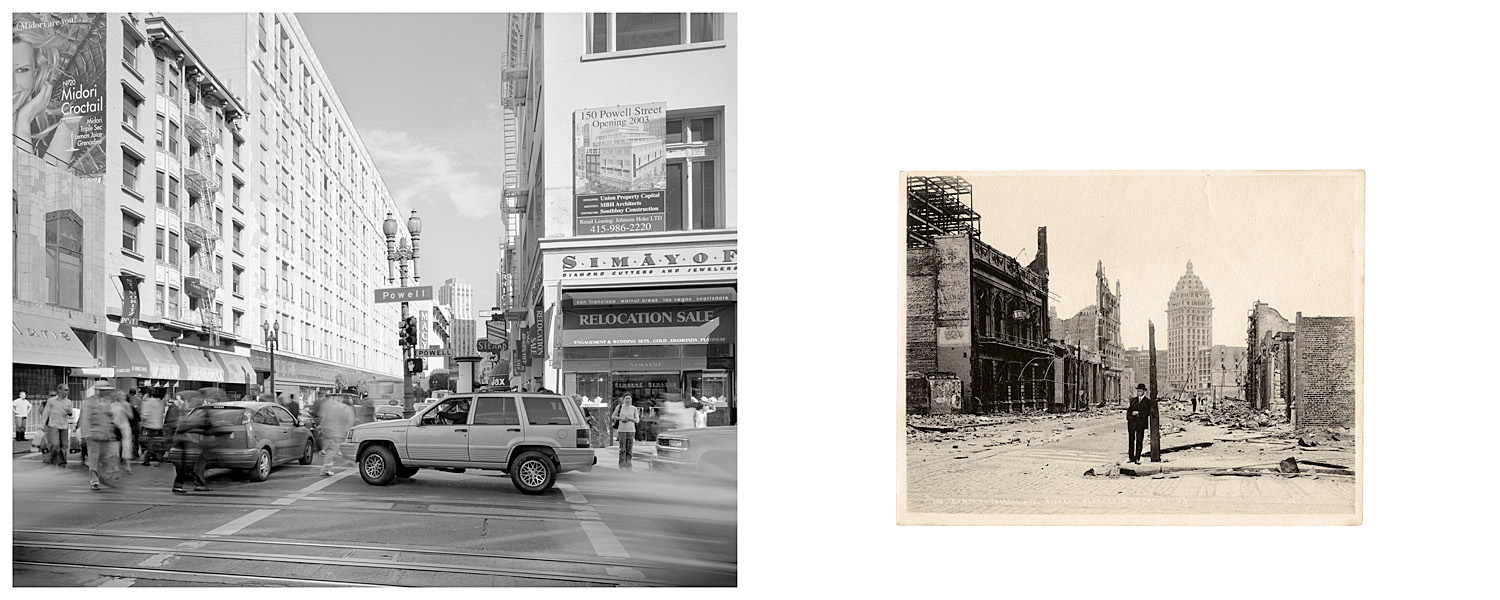 """LEFT: """"Relocation Sale,"""" Corner of Powell and O'Farrell Streets, 2003  RIGHT: Powell and O'Farrell Sts, 1906"""