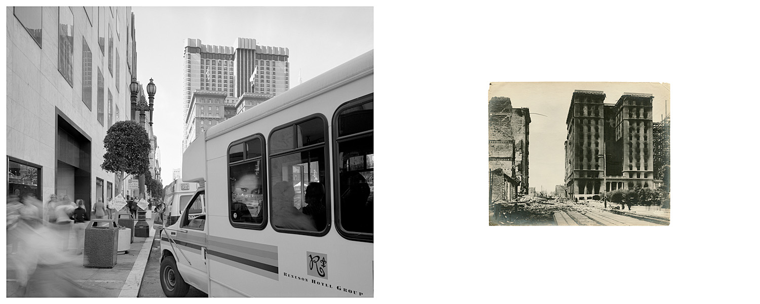 LEFT: Waiting hotel van, corner of Stockton and Geary Streets, 2004  RIGHT: Untitled, 1906