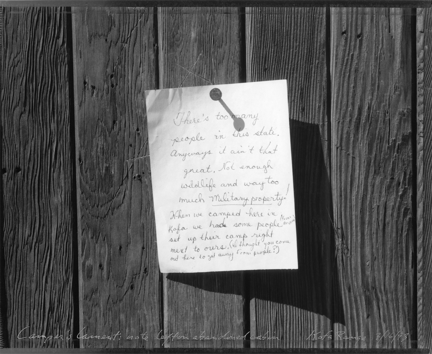 Camper's lament, note left on abandoned cabin, Kofa Range, 1993