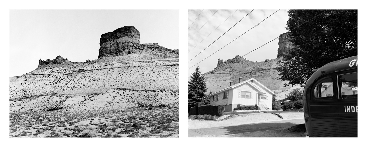 LEFT: Timothy O'Sullivan, Green River Buttes, 1872  RIGHT: Mark Klett and Gordon Bushaw for the Rephotographic Survey Project, Castle Rock, Green River, WY, 1979