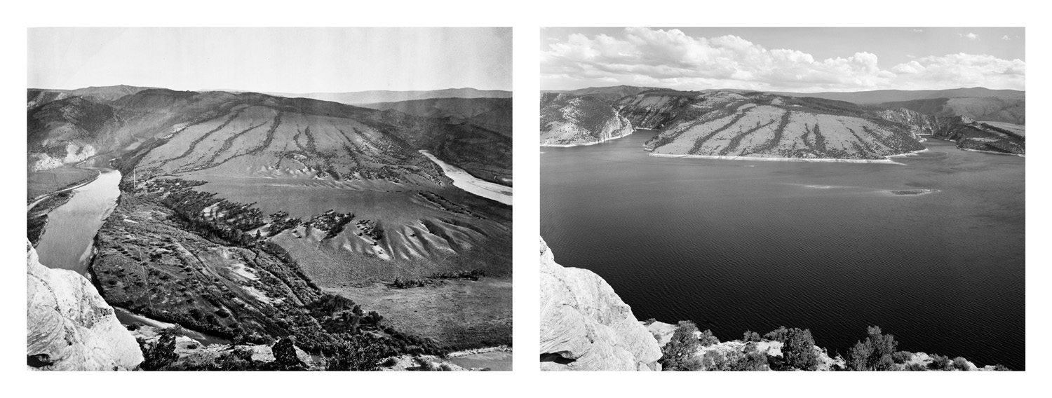 LEFT: Timothy O'Sullivan, Green River Cañon, Great Bend, 1872  RIGHT: Mark Klett for the Rephotographic Survey Project, Flaming Gorge Reservoir, 1978