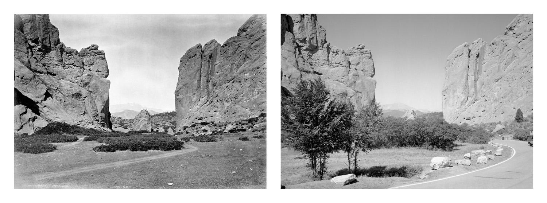 LEFT: William Henry Jackson, Gateway Garden of the Gods, 1873 RIGHT: Mark Klett and JoAnn Verburg for the Rephotographic Survey Project, Gateway Garden of the Gods, 1977