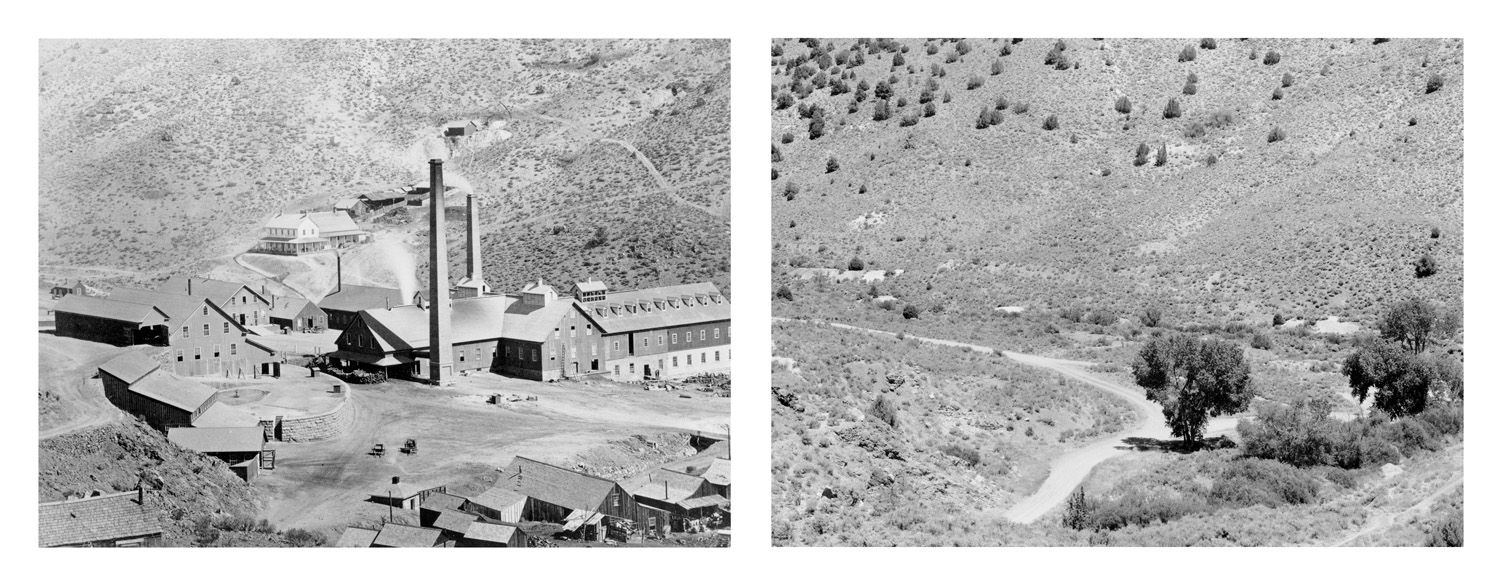 LEFT: Timothy O'Sullivan, Quartz Mill near Virginia City, 1868  RIGHT: Mark Klett for the Rephotographic Survey Project, Site of the Gould and Curry Mine, Virginia City, NV, 1979