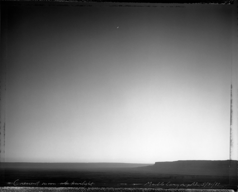 Crescent moon at twilight, Marble Canyon, Arizona, 1987