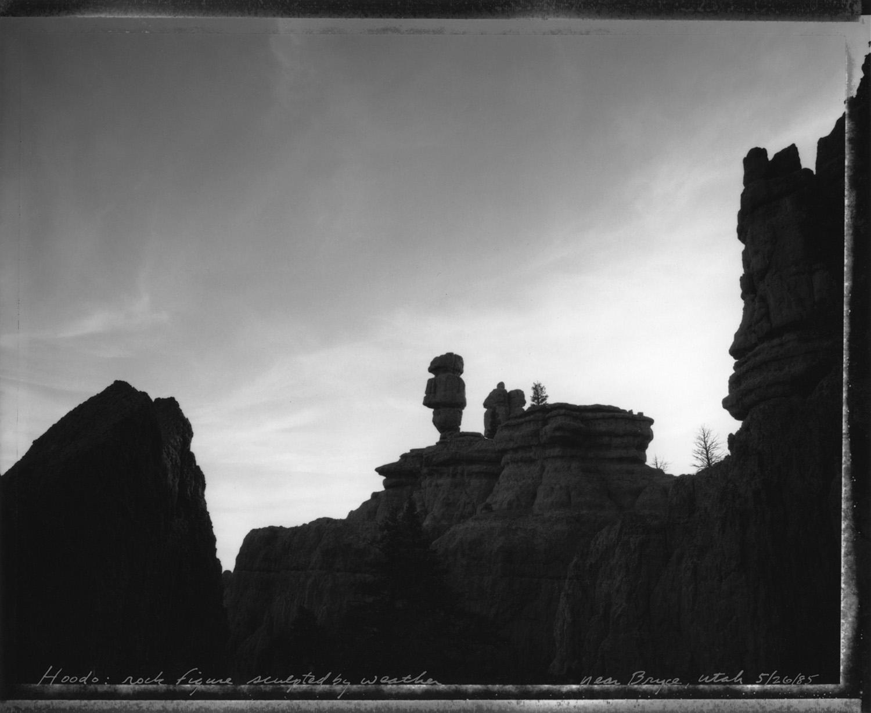 Hoodoo: rock figure sculpted by weather near Bryce, Utah, 1985