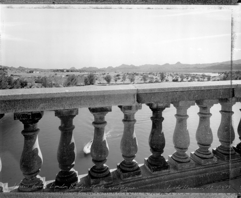View from London Bridge at its new home, Lake Havasu, Arizona, 1983
