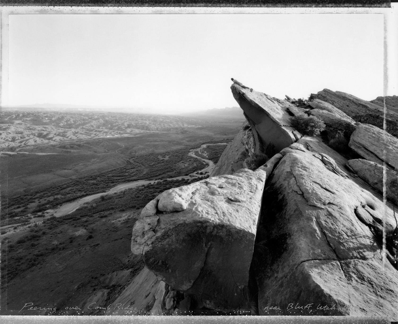 Peering over Comb Ridge near Bluff, Utah, 1989