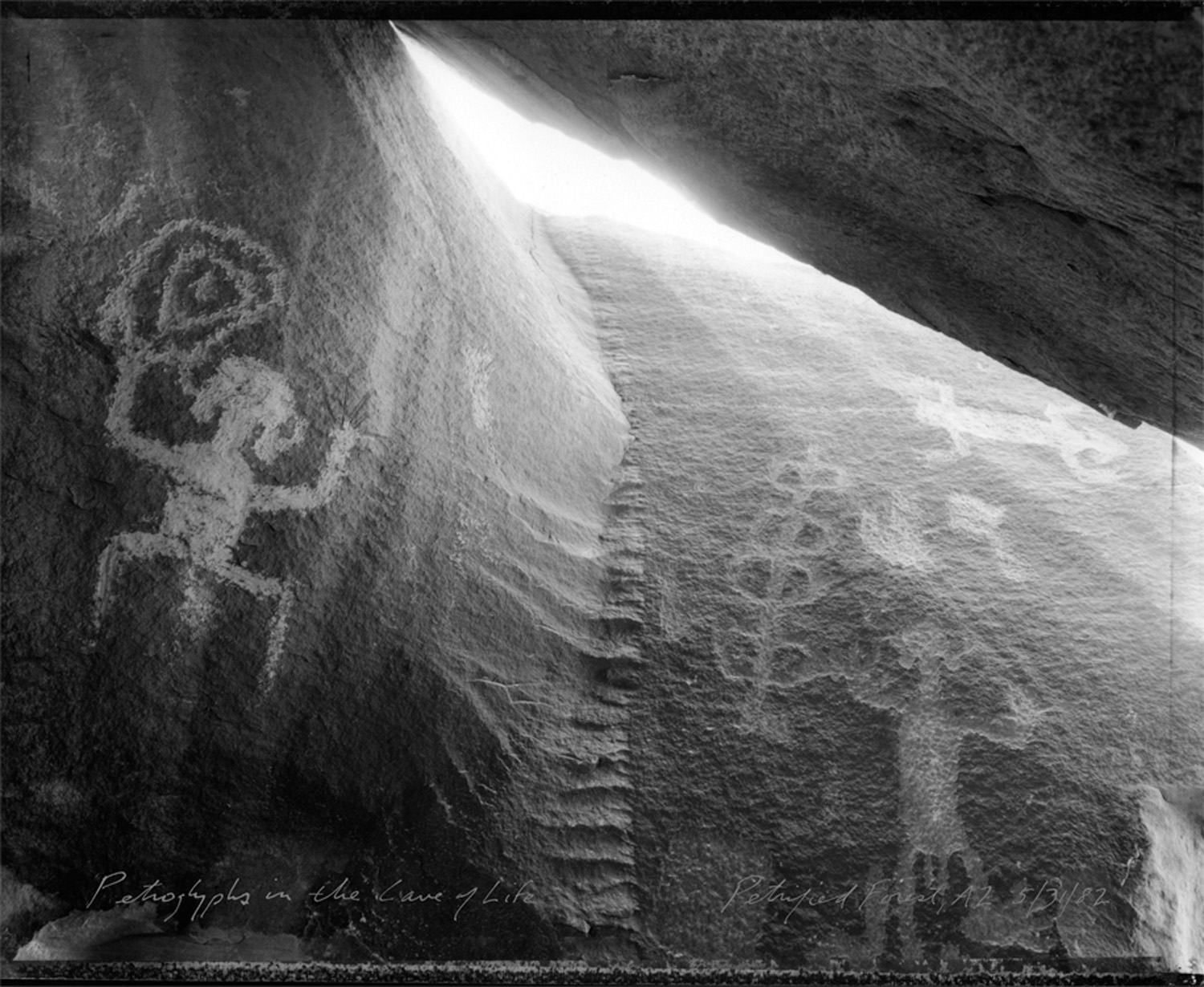 Petroglyphs in the Cave of Life, Petrified Forest, AZ, 1982