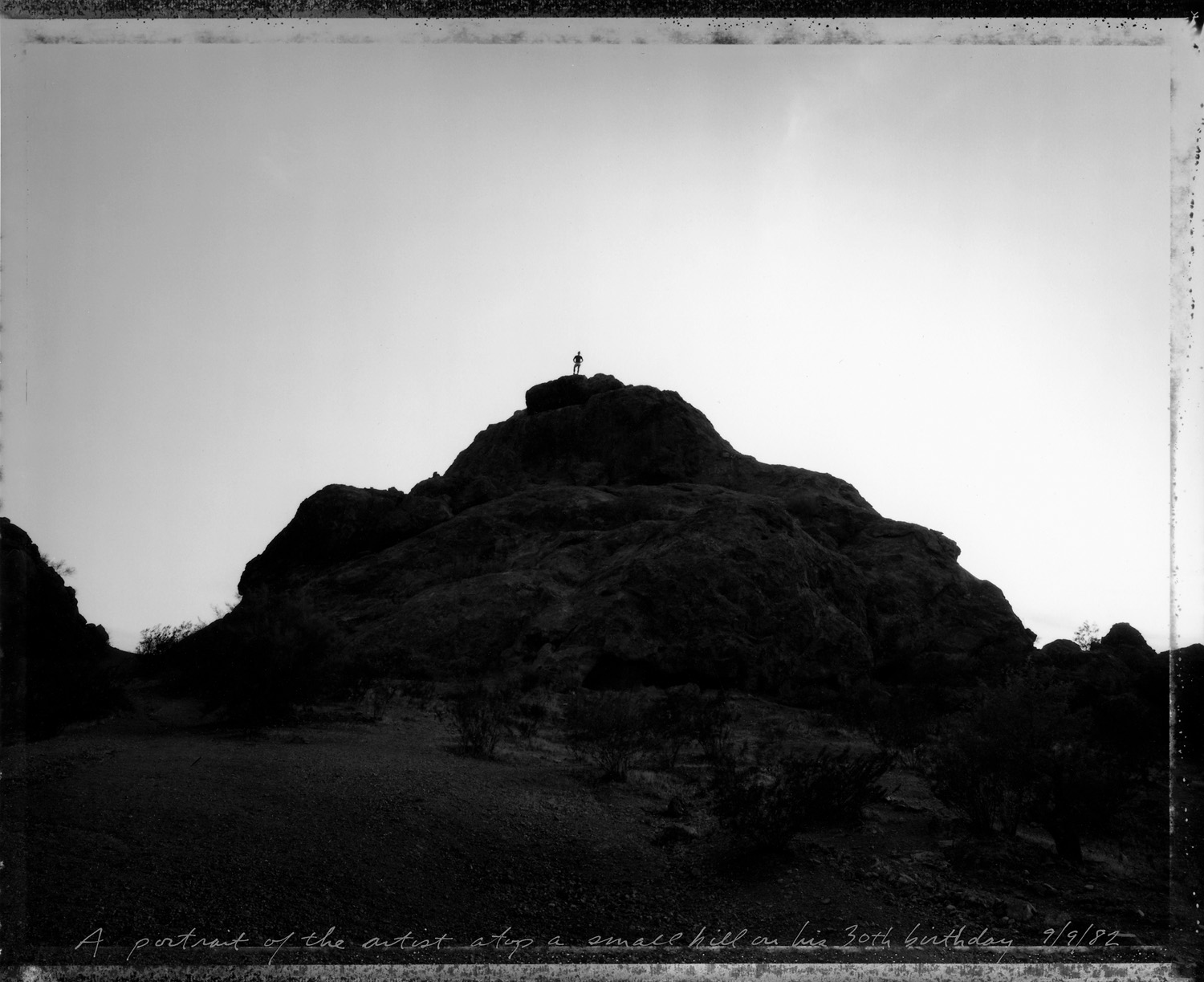 A portrait of the artist atop a small hill on his 30th birthday, Phoenix, 1982