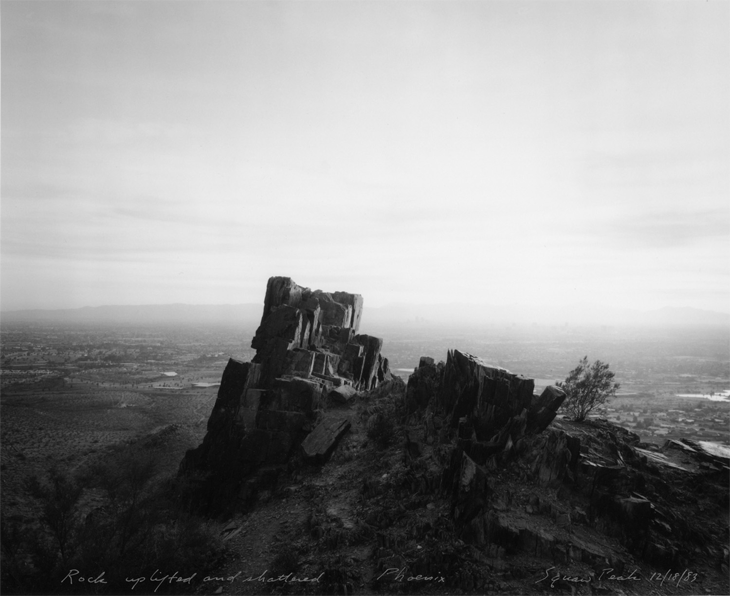 Rock uplifted and shattered, Phoenix, Squaw Peak, 1983