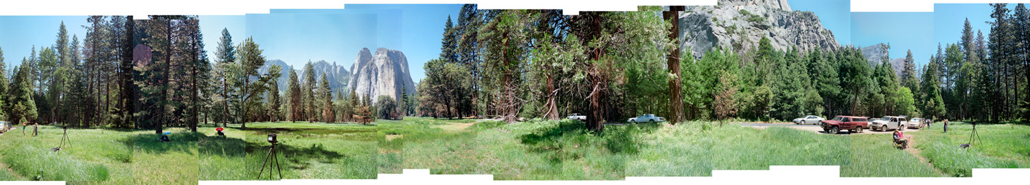 Panorama showing Ansel Adams's camera position for Cathedral Rocks, by the side of the road