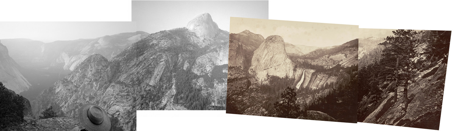"Four views from ""Panorama Rock,"" an obscure outcrop off the Panorama Cliff Trail: two rephotographs, a speculation on Muybridge's missing plate No. 39, and another photograph to the left"