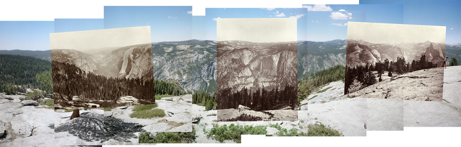 Panorama of Sentinel Dome connecting three views by Carleton Watkins