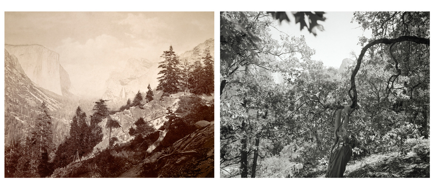 LEFT: Carleton Watkins, First View of the Yosemite Valley from the Mariposa Trail, c. 1866  RIGHT: Mark Klett and Byron Wolfe, View of the Yosemite Valley from the old Mariposa Trail, 2003