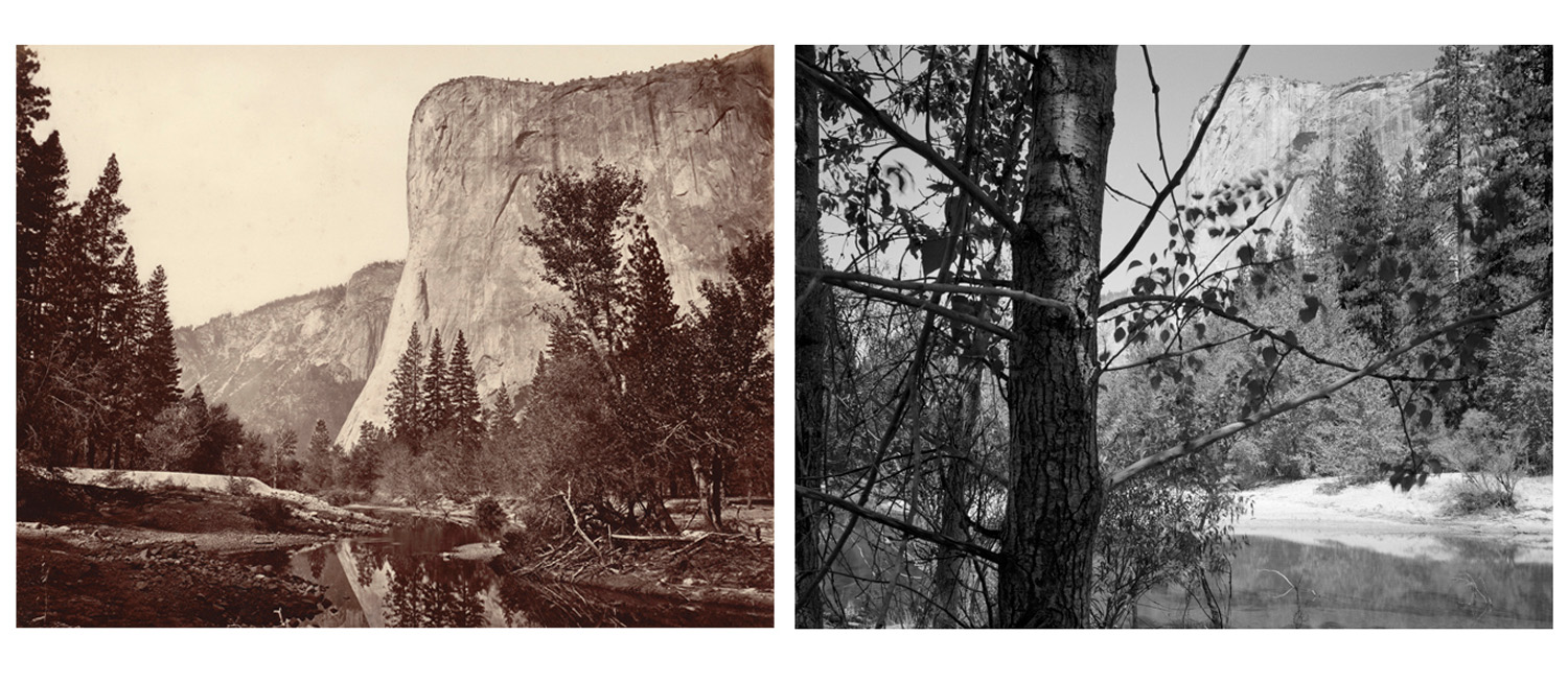 LEFT: Eadweard Muybridge, Tutocanula, Valley of the Yosemite, 1872 RIGHT: Mark Klett and Byron Wolfe, El Capitan from the bank of the Merced River, Yosemite Valley, 2002