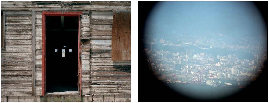 Open doorway former barracks, View of Hiroshima through telescope