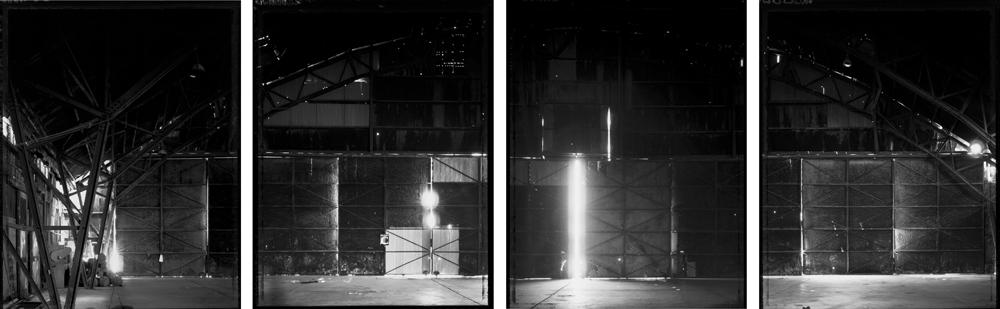 Four parts of hangar interior, doors that held the bomber Enola gay