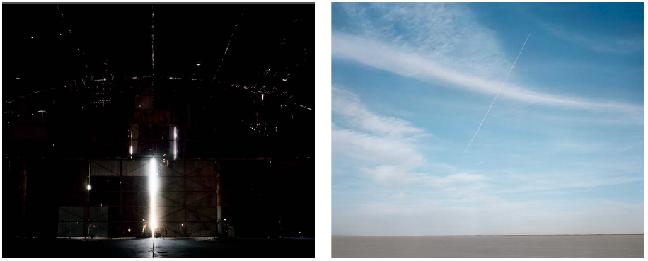 Inside the hangar doors where the bomber Enola Gay was kept; Contrail above Salt Flats, Wendover Utah