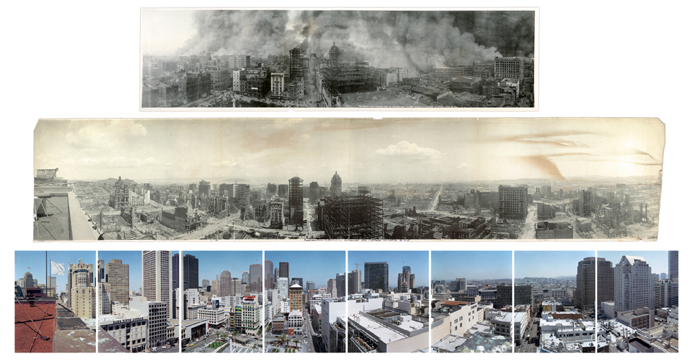TOP: The burning of San Francisco, April 18, 1906 MIDDLE: From St Francis Hotel, 1906 BOTTOM: Panorama of Union Square from the roof of the St Francis Hotel, 2003