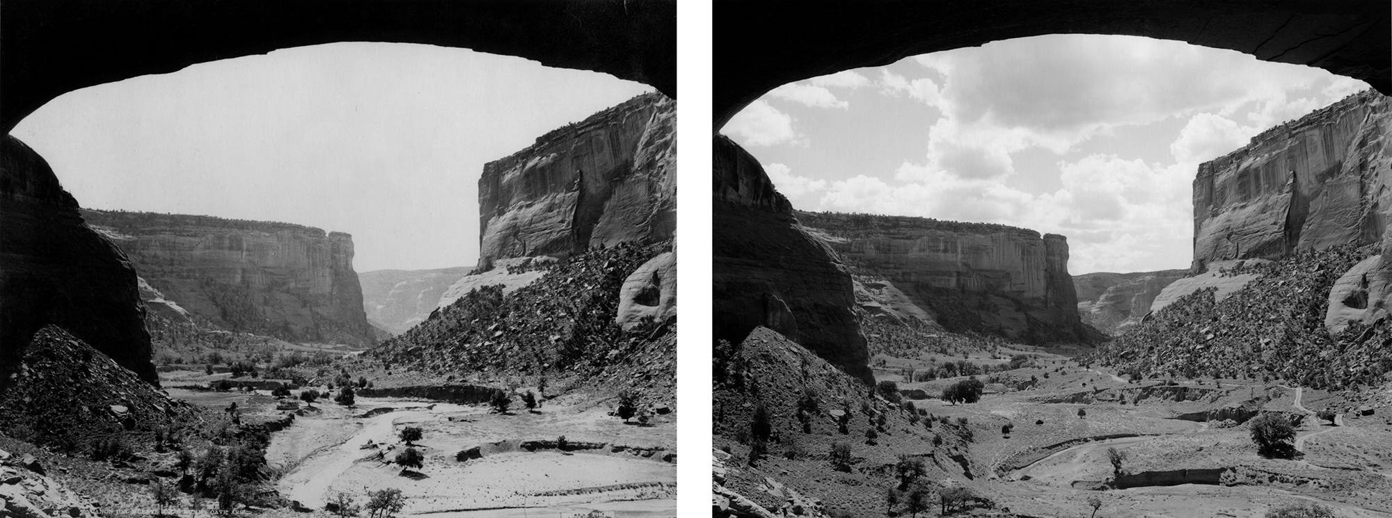 LEFT: J.K. Hillers, Cañon del Muerto from Mummy Cave, N.D. RIGHT: Mark Klett for the Rephotographic Survey Project, Canyon del Muerto, Canyon de Chelly National Monument, AZ, 1978