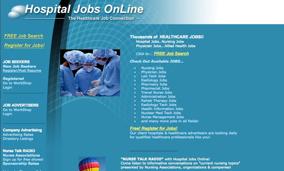 Screenshot of the healthcare job board HospitalJobsOnline.com