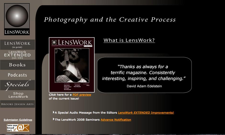 Screenshot of the LensWork website.