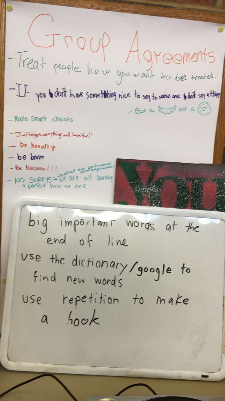 "Our campers' agreements included ""be a croissant, not a bagel,"" meaning to focus on being open-minded rather than closed-off from others. Later in the day during a Songwriting workshops, they came up with guidelines to remember when writing their own songs and wrote them on the whiteboard."