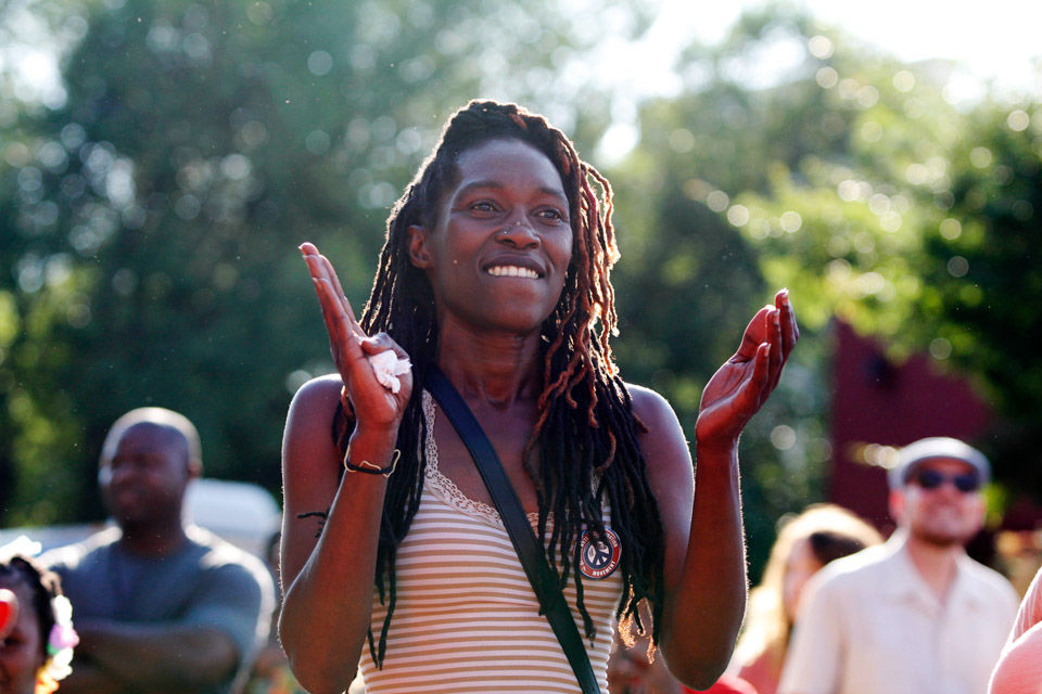 Mokah Johnson claps after a performance during the Hot Corner festival in Athens, Georgia on Saturday, June 10, 2017. (Photo/Emily Haney,  emilyhaney.com )      The Red&Black