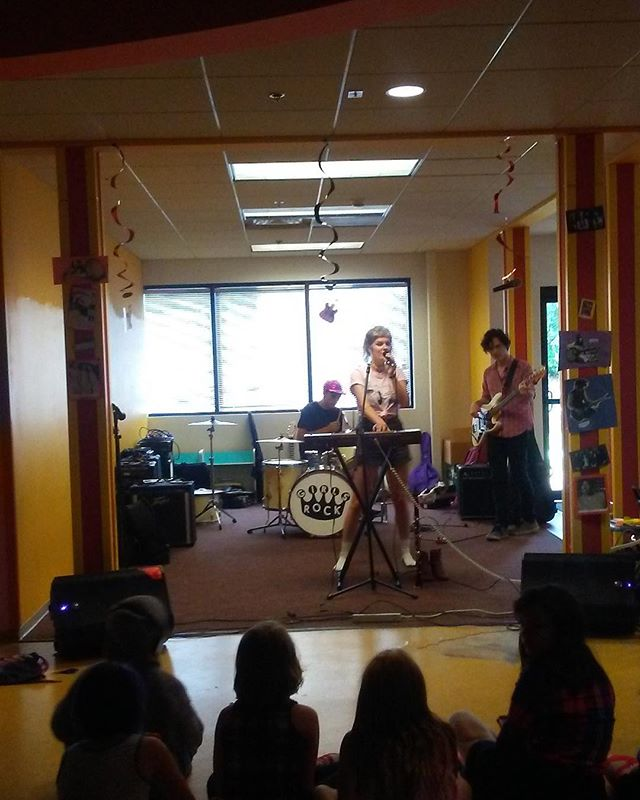Picture from last week of the campers listening to @nightpalaceband performance for them!