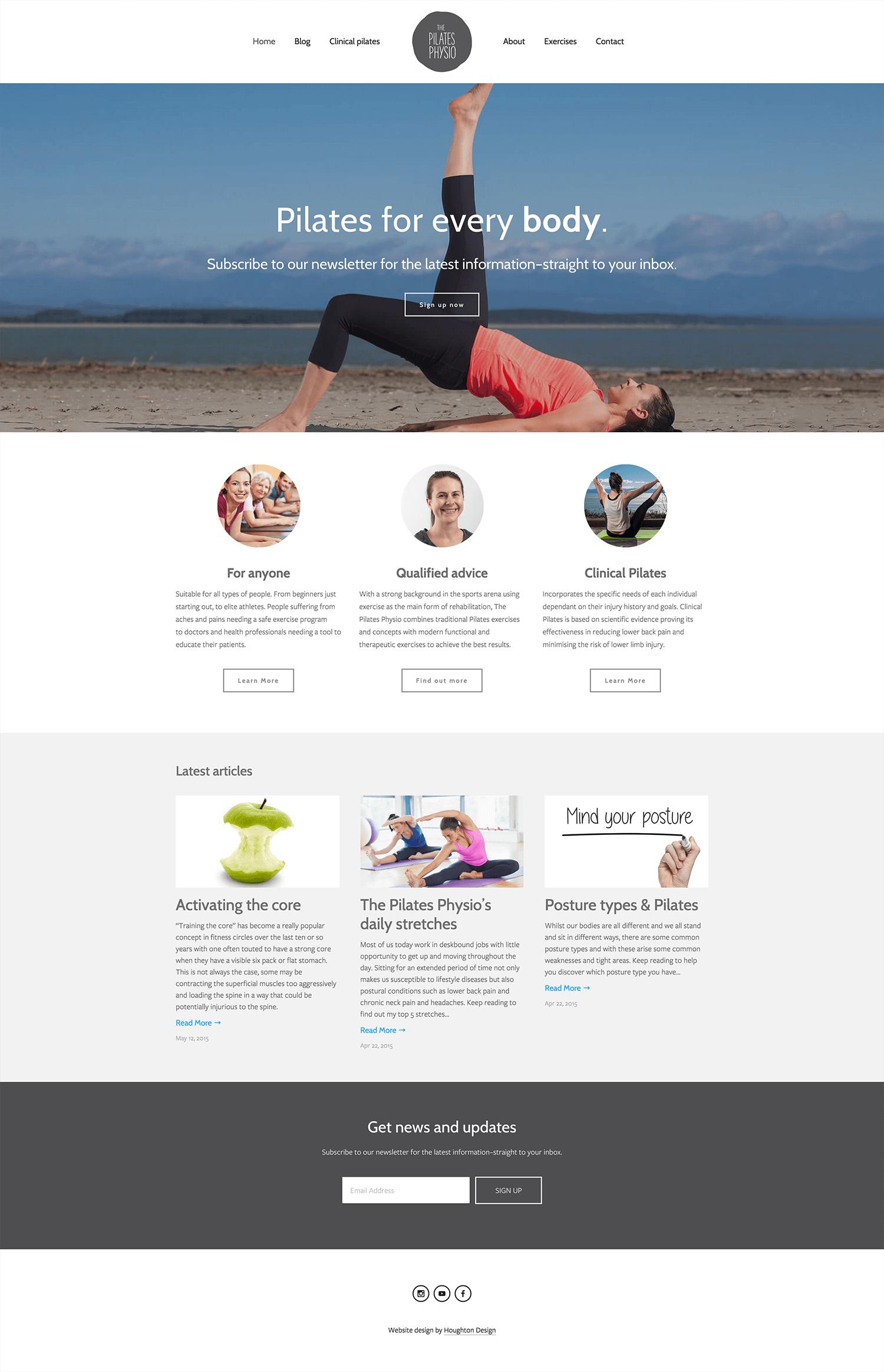Squarespace website for The Pilates Physio - www.thepilatesphysio.com