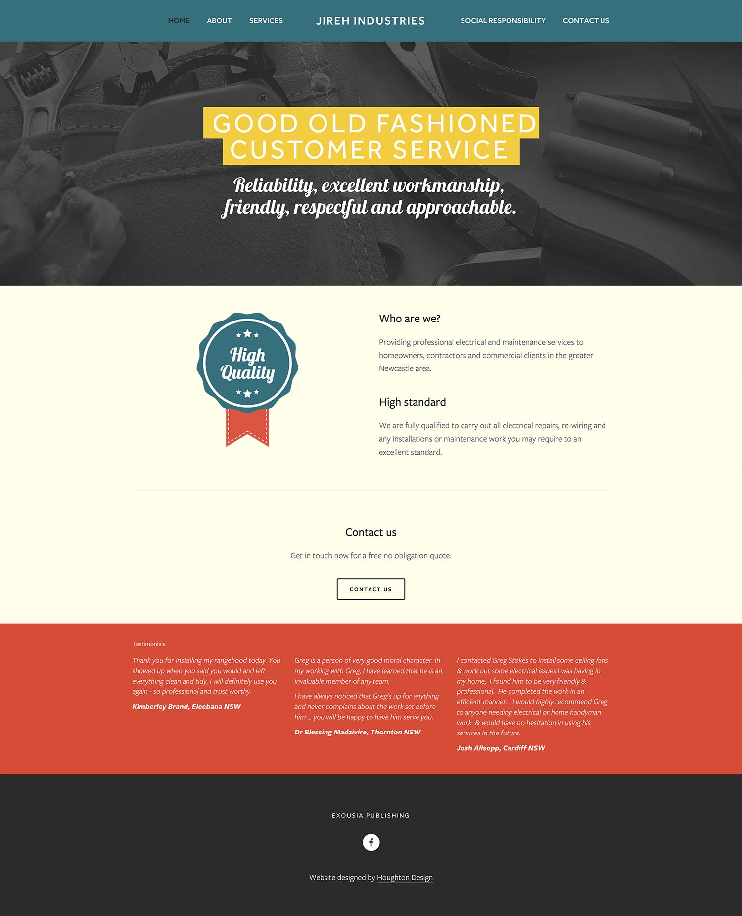 Squarespace website for Jireh Industries - www.jirehindustries.com.au