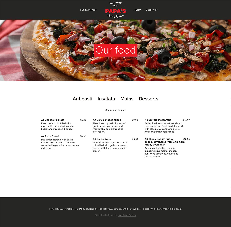 Menu page on Squarespace website for Papas Italian Kitchen - www.papaskitchen.co.nz