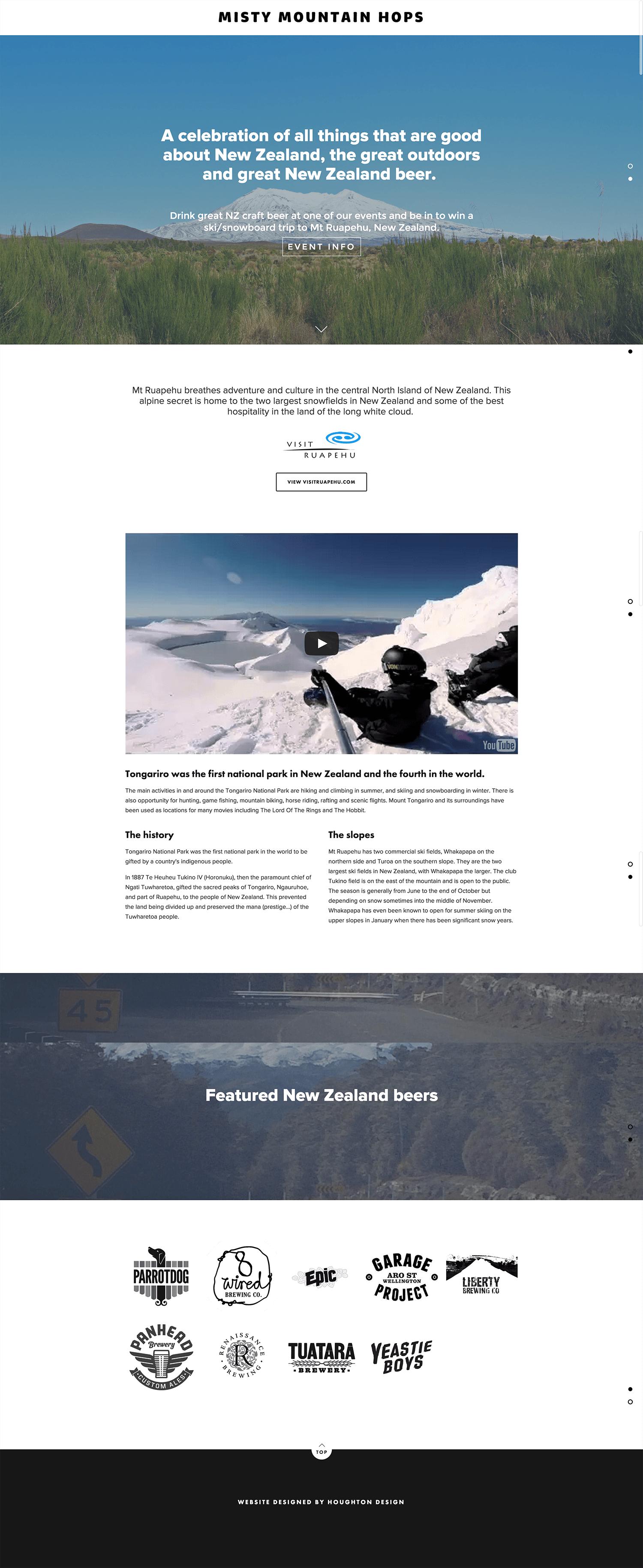 Squarespace website for Misty Mountain Hops - www.mistymountainhops.co.nz